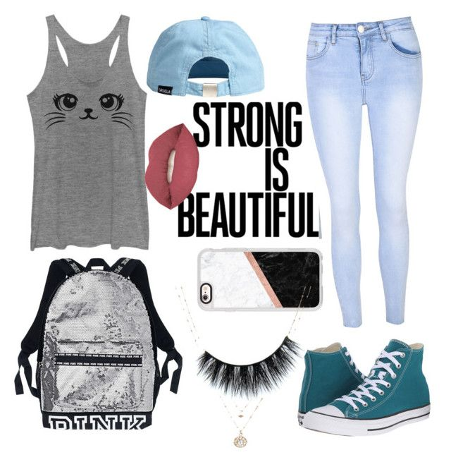 """""""Strong is beautiful back to school"""" by thinkfierce ❤ liked on Polyvore featuring Glamorous, Converse, Casetify, Smashbox and LC Lauren Conrad"""