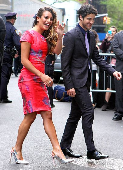 Foxy for the Upfronts Lea Michele and Darren Criss got spiffy for the Fox Upfronts presentation at NYCs Beacon Theatre May 14.