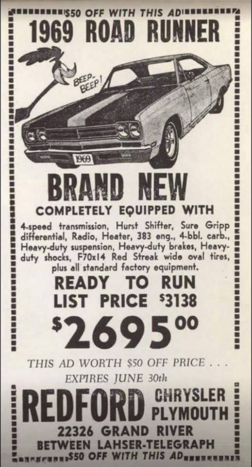 And to think I paid $3138.00 for my second RR in 1969 !!!!!   Dodge ...