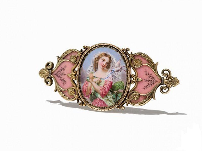 Rare Fabergé enamel brooch, circa 1900