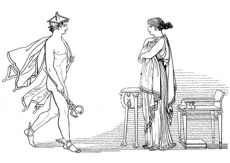 Coloring page Oddyseus - Hermes orders Calypso the release of ...