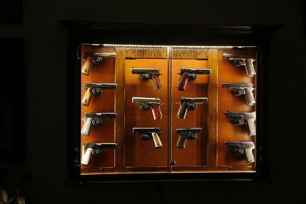 The Woodloft Illinois Amish Custom Crafted Pistol Display Pistol Display Case Wall Display Display