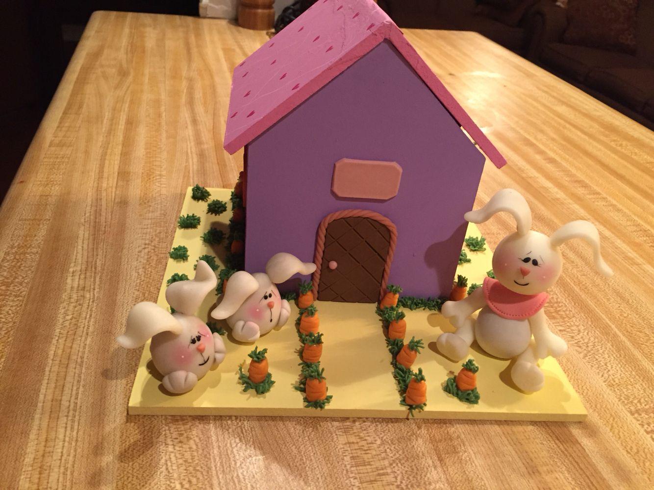 Bunnies house / cold porcelain
