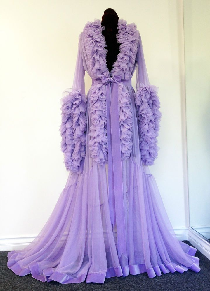Soft Ruffled Lilac Sheer Dressing Gown Burlesque D\'Lish | Gowns ...