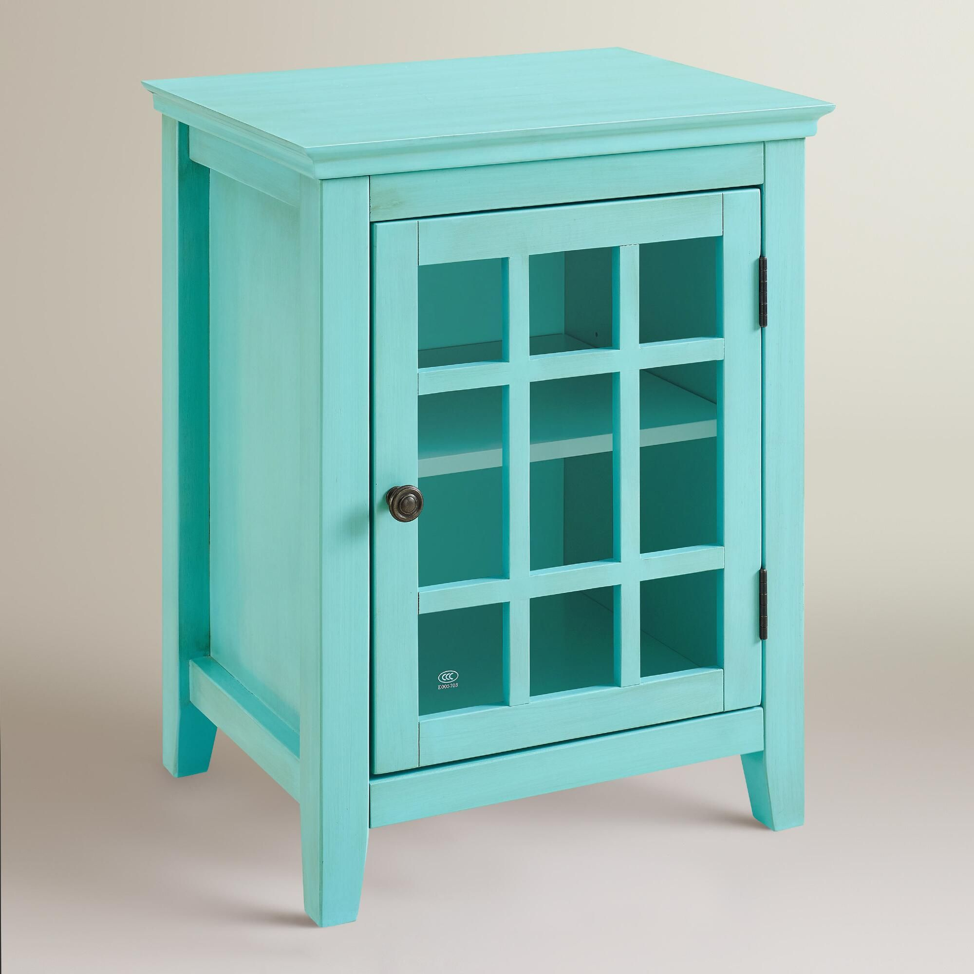 Antique Turquoise Single Door Storage Cabinet