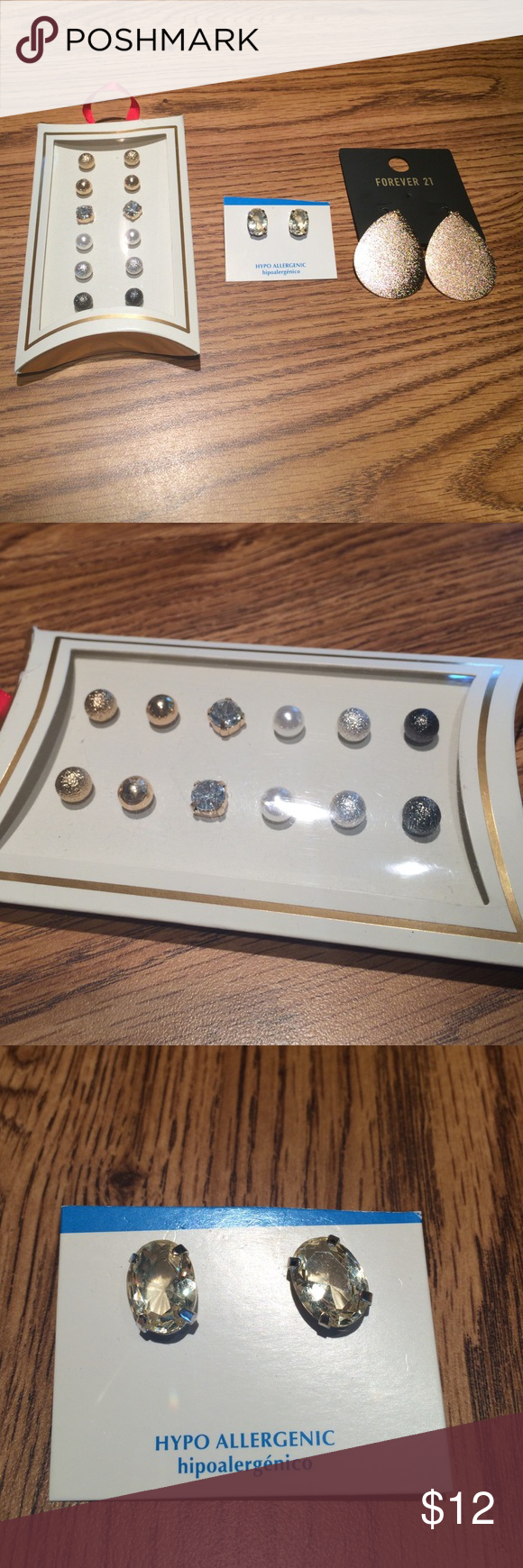 NWT Earring Bundle 8 pairs of earrings sold together. 7 are studs and one is dangly. Never worn but box with 6 studs was opened. Mixture of rose gold, silver and pearls Jewelry Earrings
