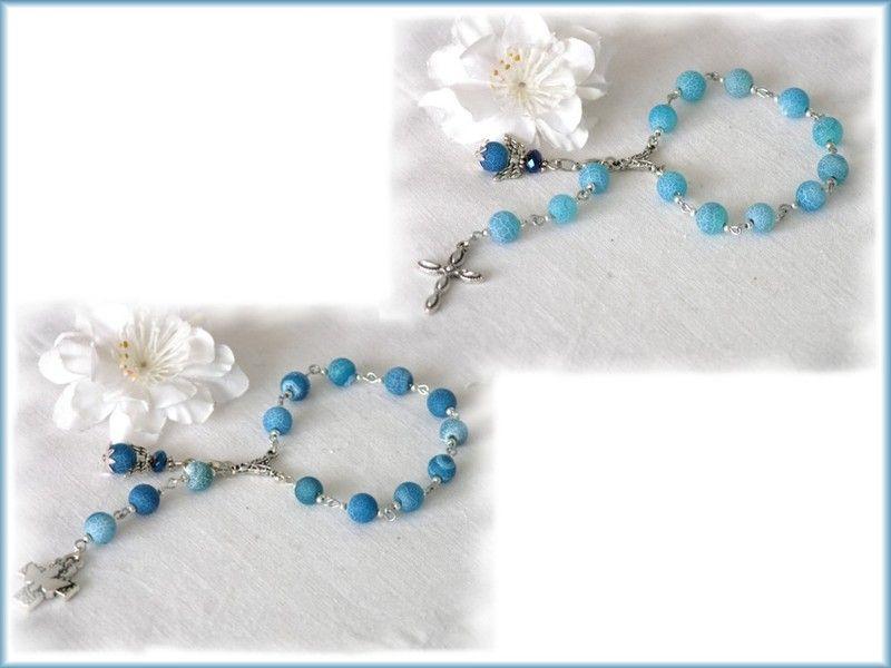 1 kleiner rosenkranz blauer achat engel taufe alpen rosenkranz und engelchen. Black Bedroom Furniture Sets. Home Design Ideas