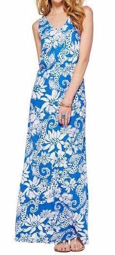 a9ce6db2300  158 Lilly Pullitzer Blue White Quahog Chowder Mills Maxi Dress L NWT L317   LillyPulitzer  Maxi  SummerBeach
