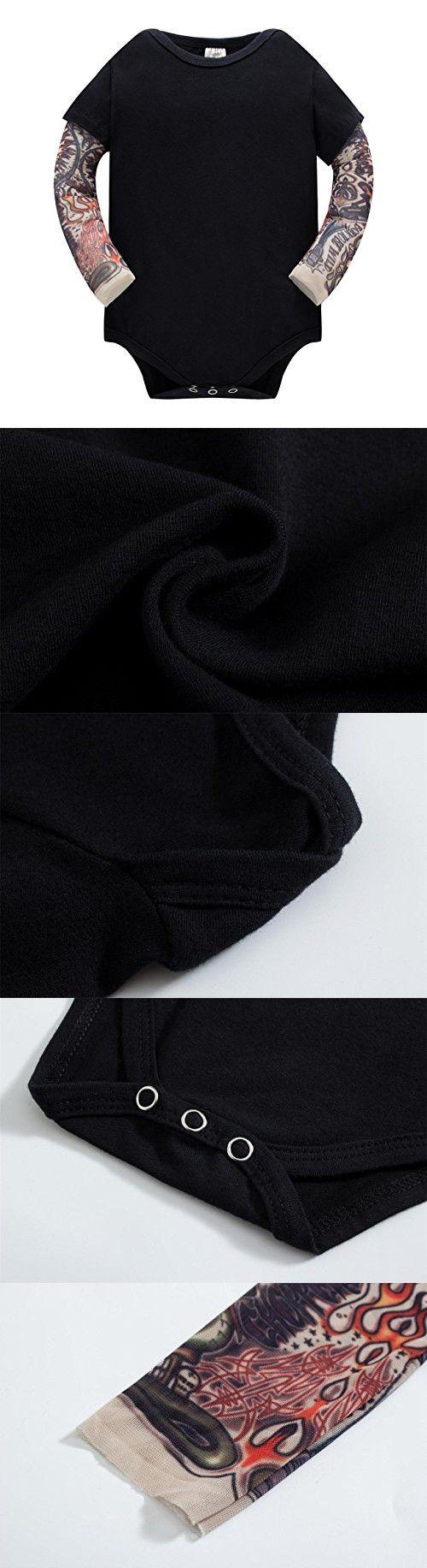 230343101b8a Huata Baby Girls Boys Long Sleeve Onesies Bodysuit Baby Romper (Black1