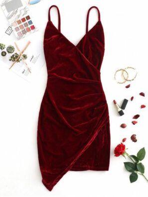 Velvet Cami Draped Dress – Kıyafetler