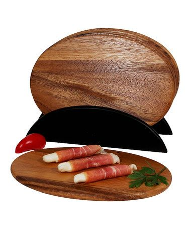 Look what I found on #zulily! Oval Serving Board & Stand - Set of Six #zulilyfinds