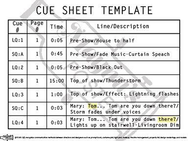 Cue Sheet Template Poster | Stage Manager Fun | Pinterest | Products