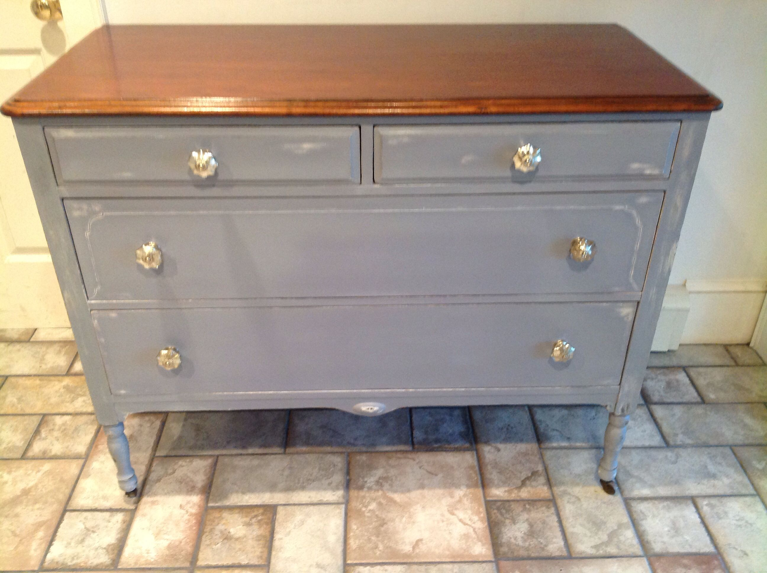 Old violet over old white with glass mercury knobs furniture