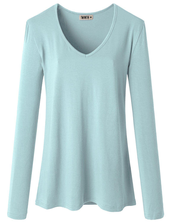 7a1ebec0e9301 Doublju Women Long Sleeve V neck Slim Simple Basic T-shirt