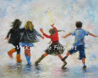Trois filles et garçon Art Print, trois soeurs et frère, quatre enfants,  pieds heureux, enfants jouant art mural, les adolescents, art Vickie Wade
