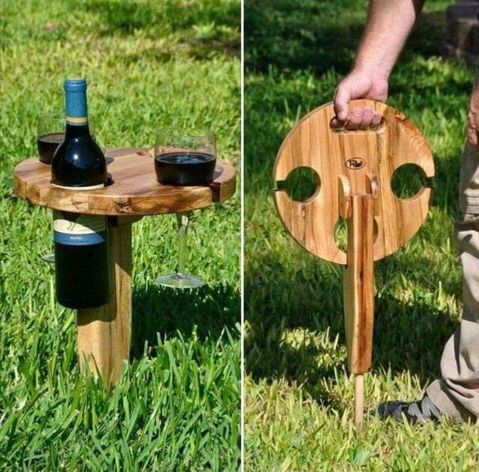 Wine bottle crafts outdoor - Outdoor Table For Two Clever Wine Bottle And Glass Holder For Those Outdoor Picnics