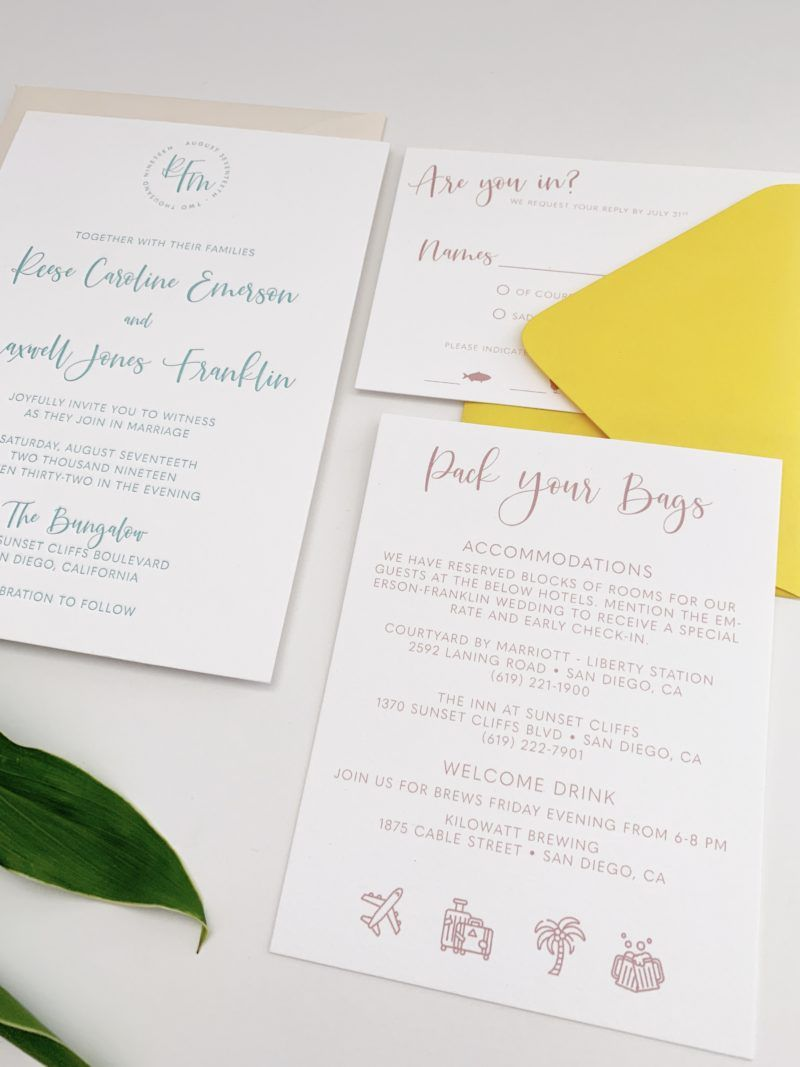 Modern Monogram Wedding Invitations With Images Letterpress