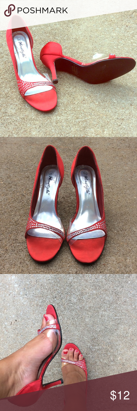 Red rhinestone heels Size 8.5 red rhinestone heels. There are no rhinestones missing. These shoes were worn one time for Homecoming Court. Heel height: 3.5 inches Shoes Heels