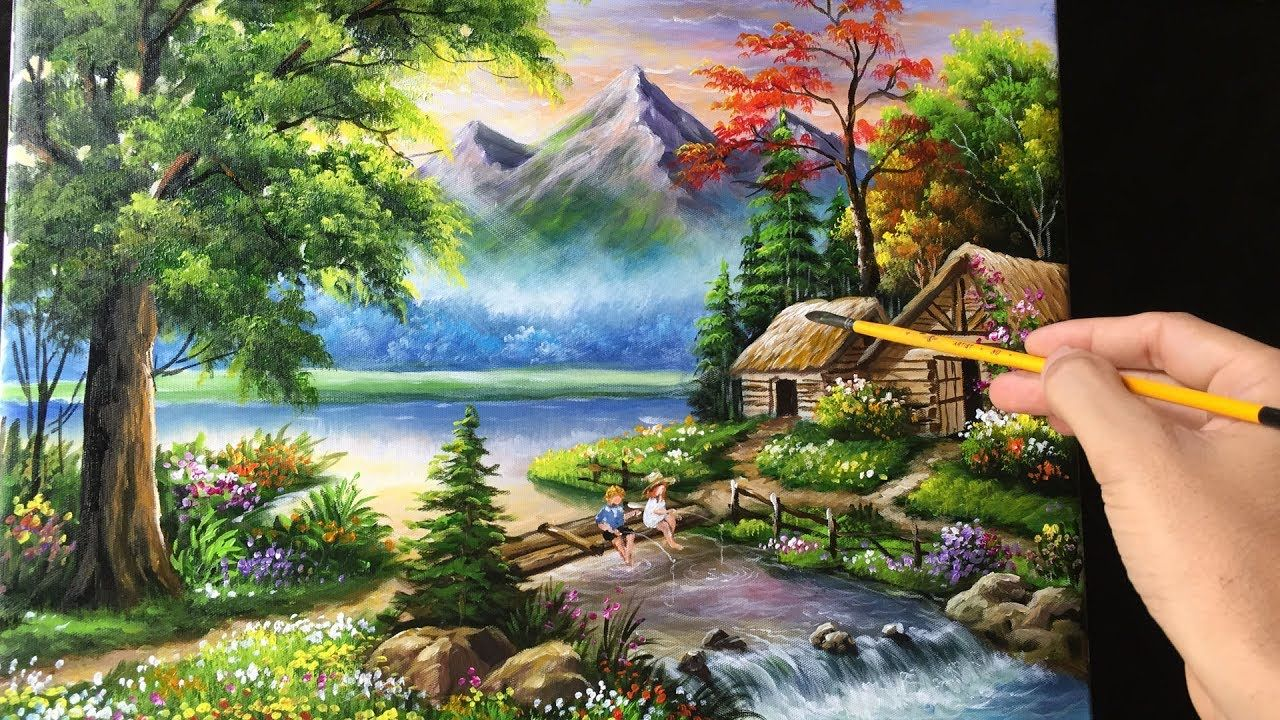 Painting A Beautiful Mountain Landscape With Acrylics Beautiful Landscape Paintings Scenery Paintings Mountain Landscape