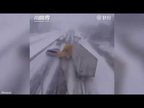 Massive 40 vehicles Pile-up Caught on Video on Chinese Motorway due to Snow-Breaking News