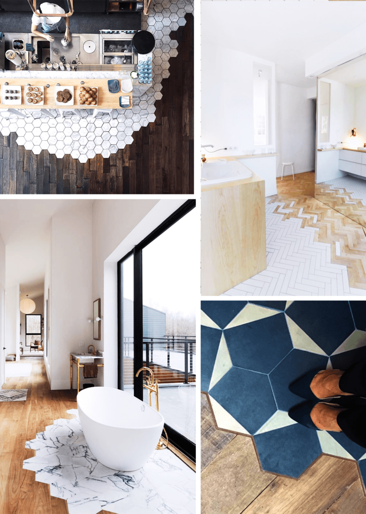 Tendance d co le mix and match de mat riaux au sol for Deco carrelage
