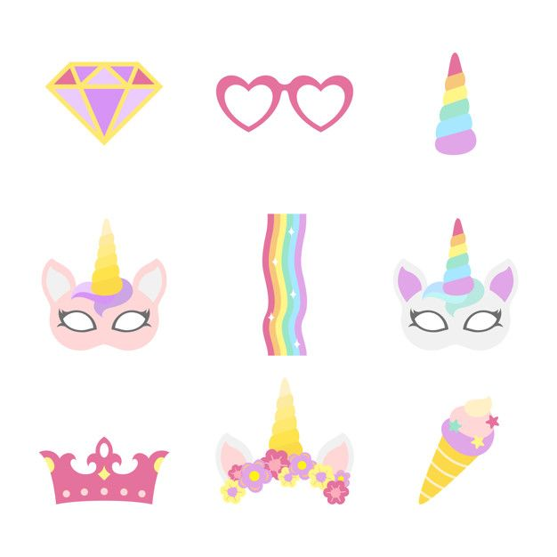 Download Cute Unicorn Photo Booth Party Props Vector for ...