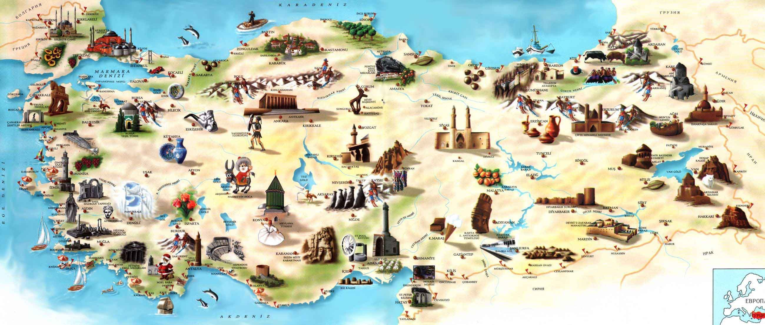 Turkey Tourist Map Turkey Mappery Turizm Cografya Goller