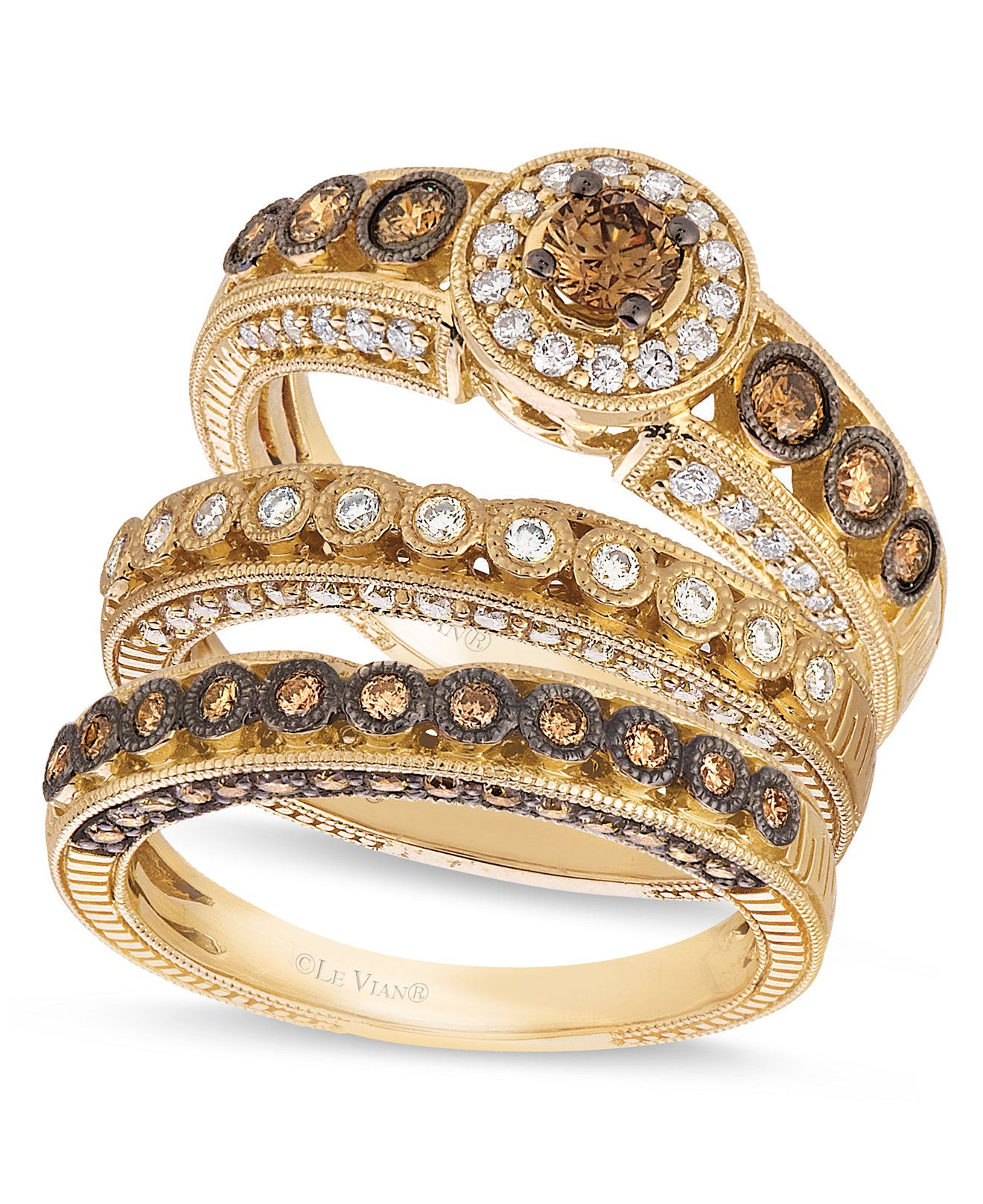 Le Vian Chocolate and White Diamond Stackable Rings in 14k Gold