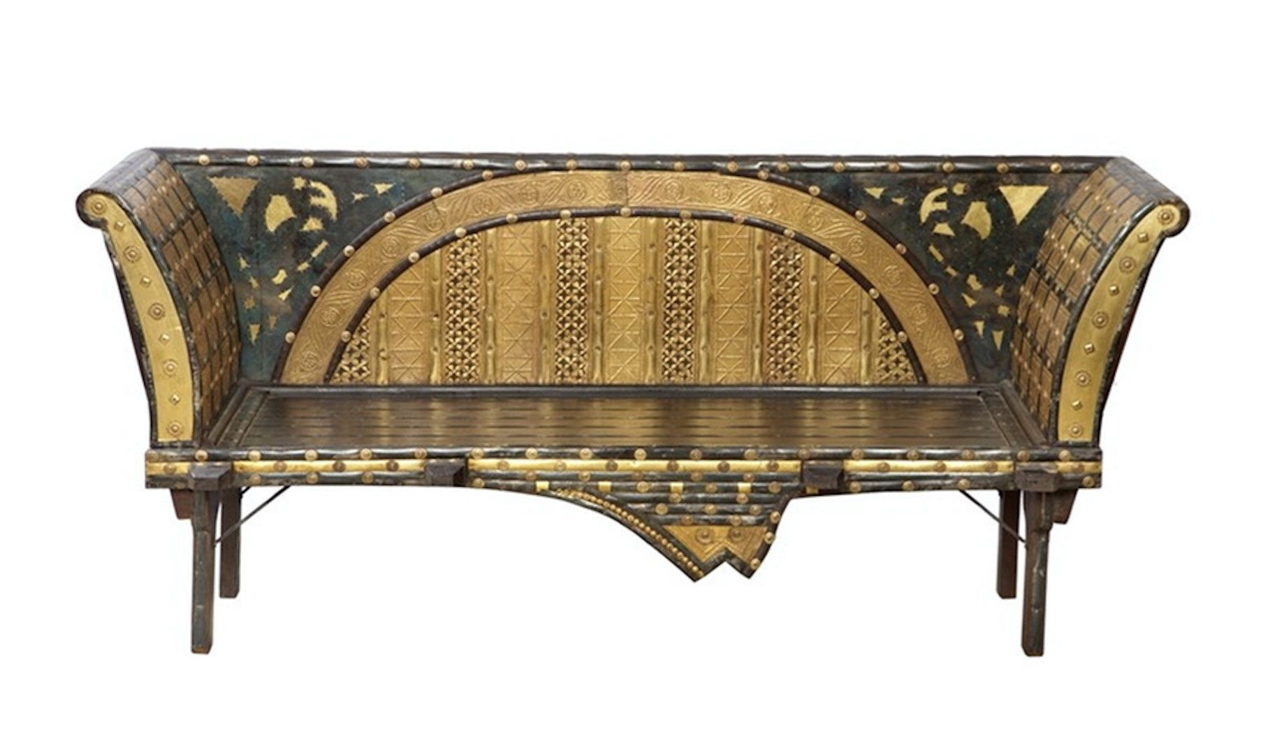 Mogul Antique Ox Cart Bench handcrafted in India