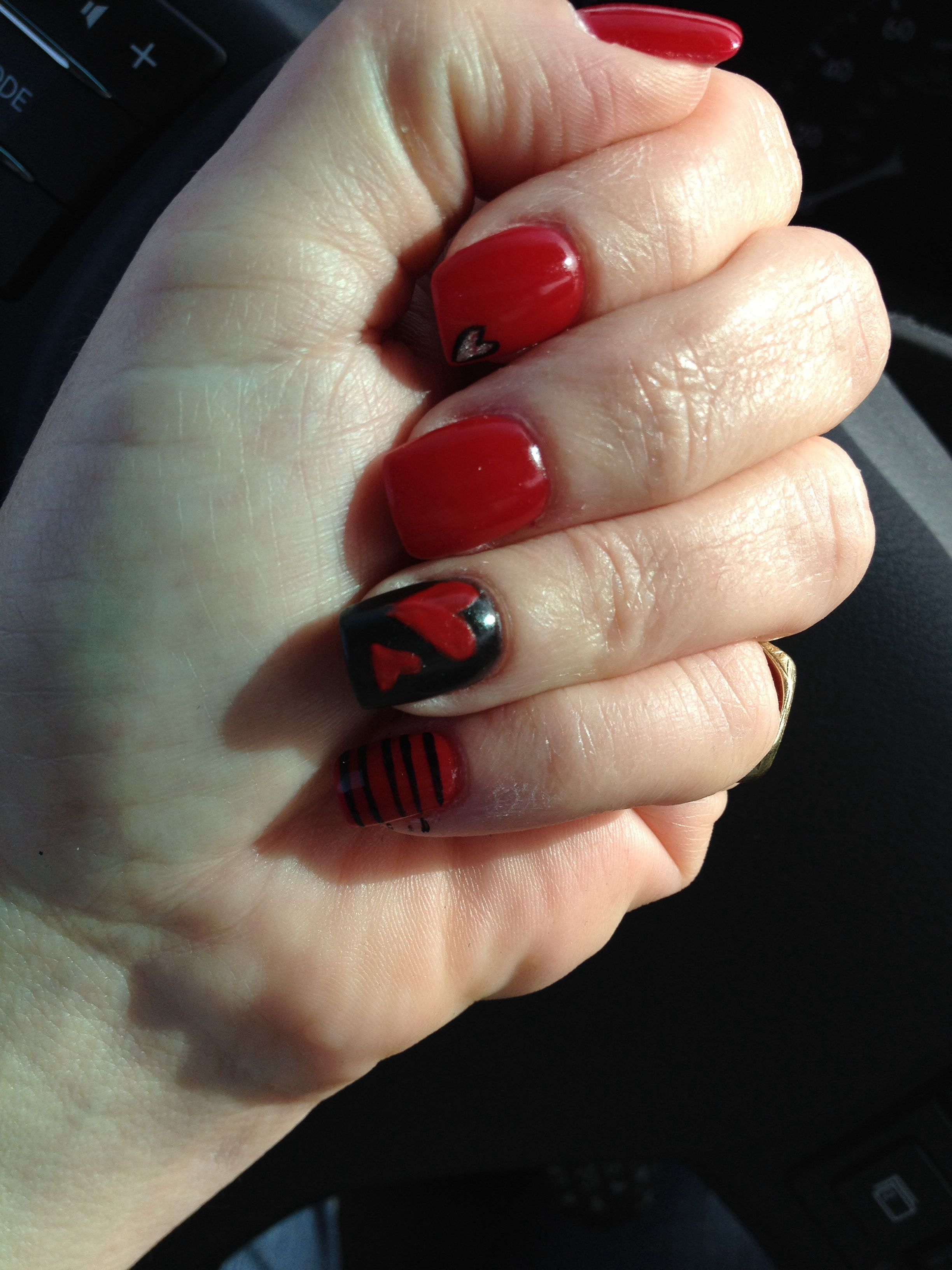 My Valentines Day Nails Courtesy Of Patrcia At Lighten Up Salon In