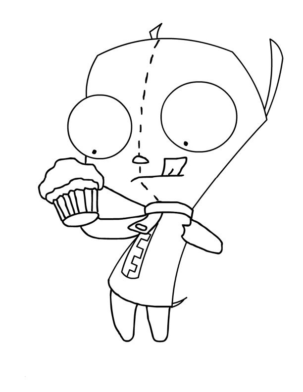 invader zim coloring pages online - invader zim preparing to eat cake invader zim coloring