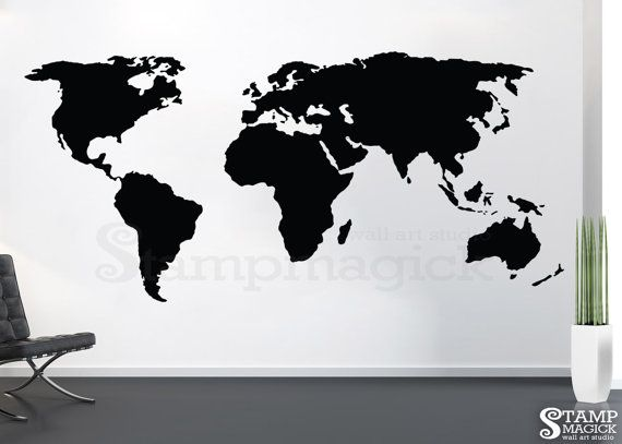 World map wall decal 45 or 58 tall large world map decal vinyl world map wall decal 45 or 58 tall large world map by stampmagick gumiabroncs