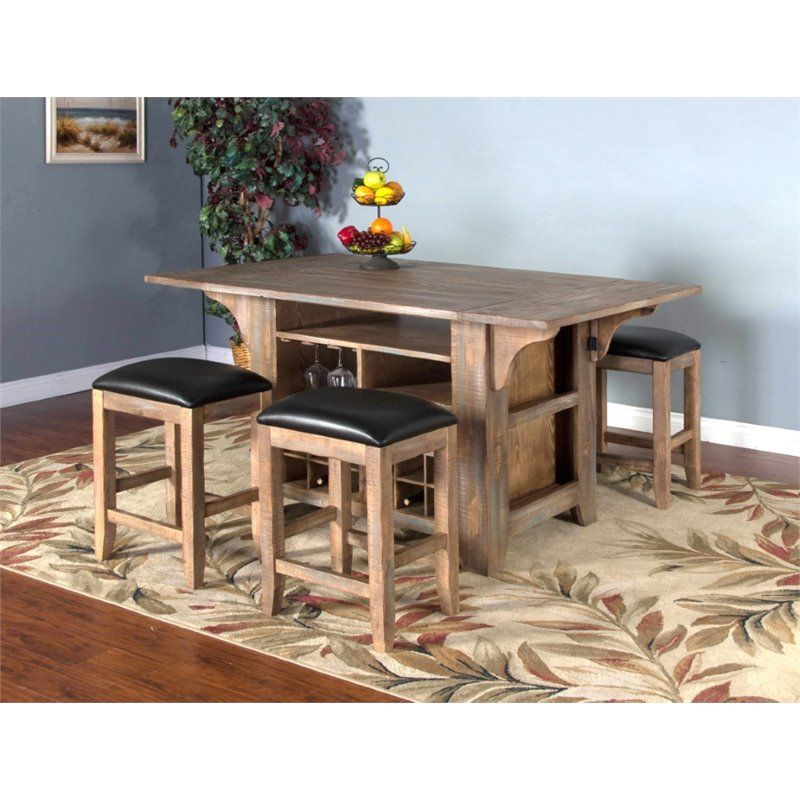 Sunny Designs Puebla Kitchen Island With Drop Leaf In Driftwood Dining Table Dining Table In Kitchen Extendable Dining Table