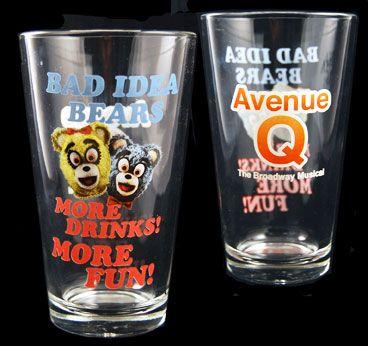 Avenue Q the Musical - Bad Idea Bears Pint Glass $19.95