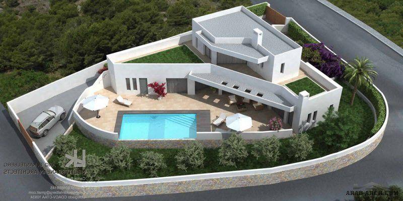 فيلا نمط استراحة مودرن رائعه ناقص المخطط Villa Architect Arch