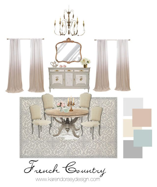 """French Country Dining room"" by karendorseydesign on Polyvore featuring interior, interiors, interior design, home, home decor, interior decorating, Oriental Weavers, Hickory Manor House, Home Decorators Collection and Canopy Designs"