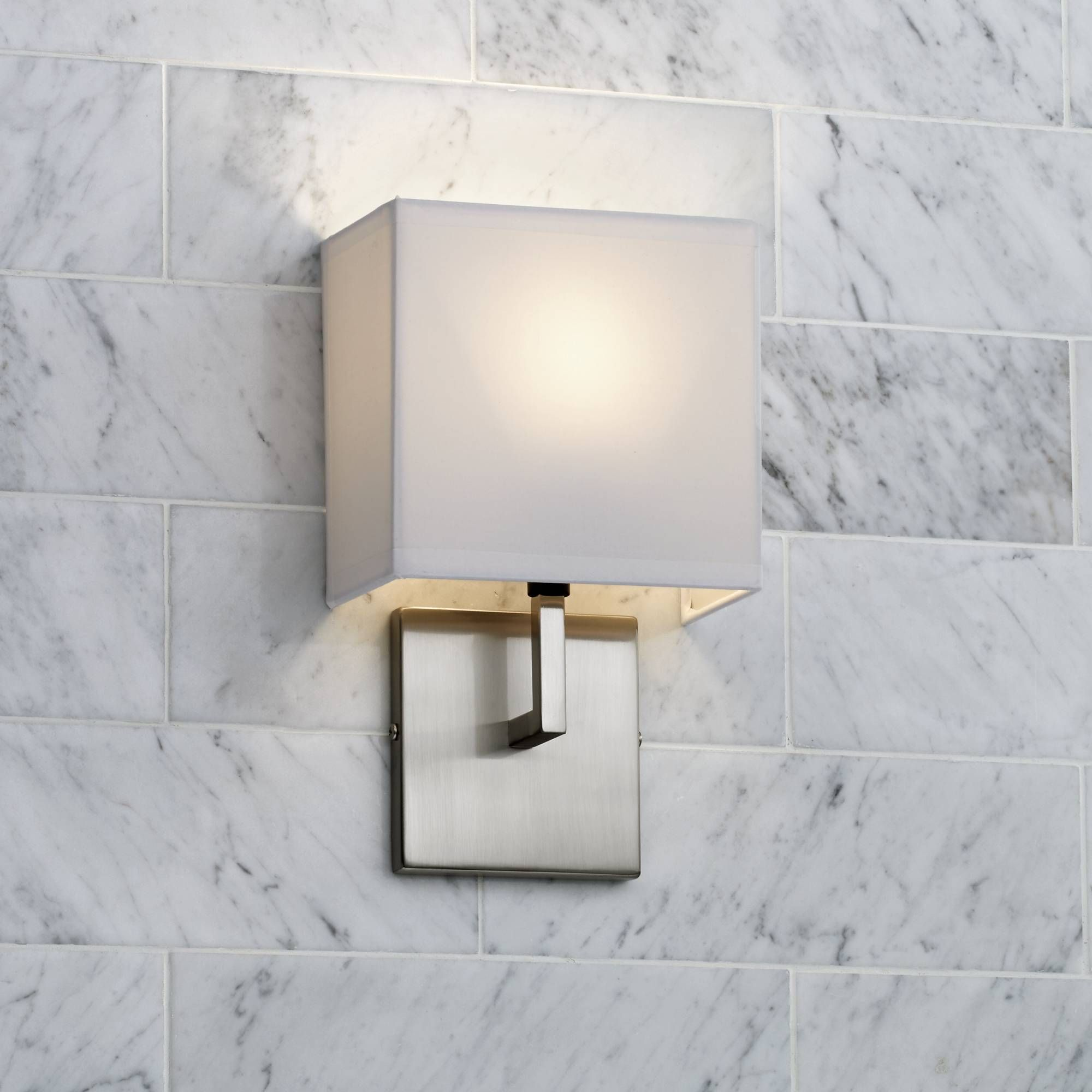 George Kovacs Nickel Fabric Shade High Wall Sconce Style - Bathroom wall sconces with fabric shades
