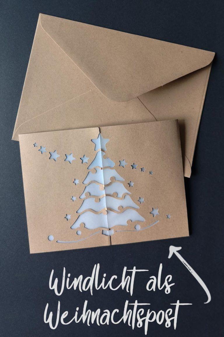 Windlicht mit Sternen & Weihnachtsbaum [Bastelvorlage & Plotterfreebie] - kugelig.com