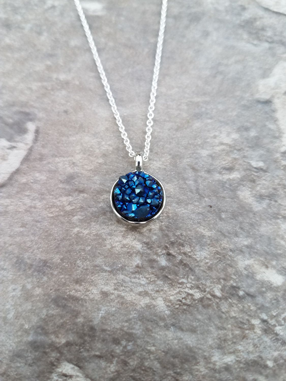 Genuine dark blue tiny druzy geode stone pendant set in silver on