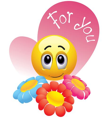 Flowers For You Smiley, Emoticon, Smiley emoji