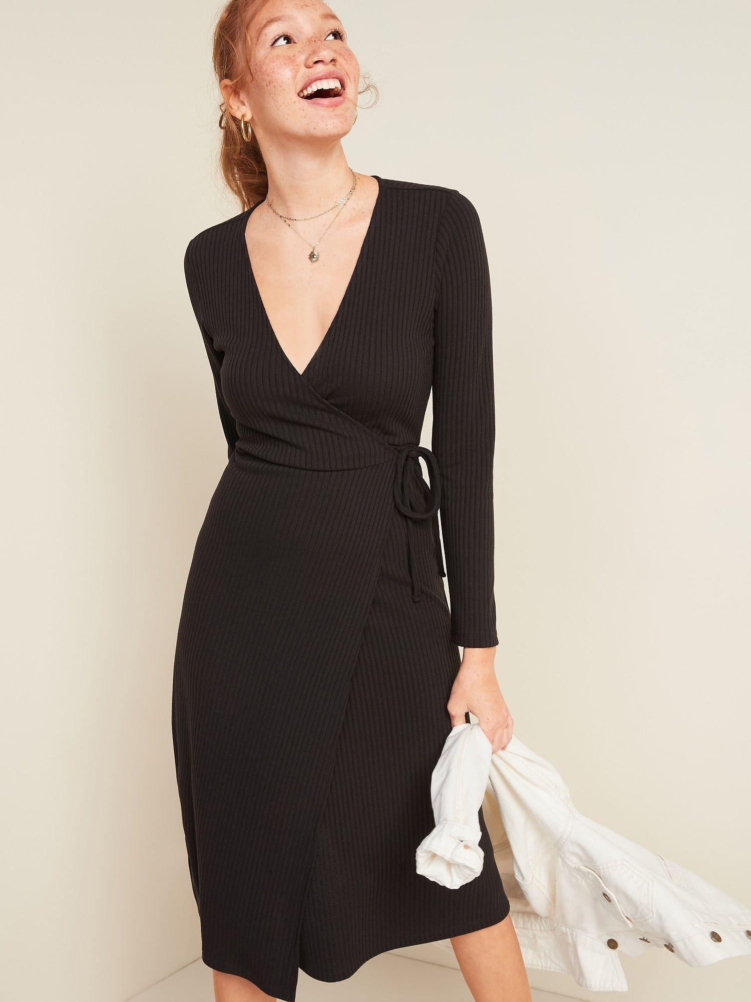 Rib Knit V Neck Midi Wrap Dress For Women Old Navy V Neck Black Dress Spring Dresses Casual Navy Wrap Dress [ 2000 x 1500 Pixel ]