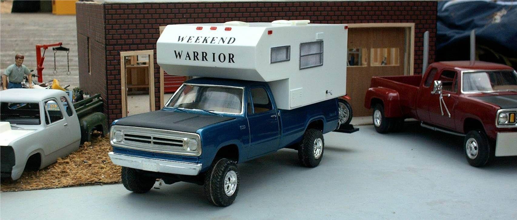 Junkyard Models Dodge Pickup Truck Camper & Dirt Bike