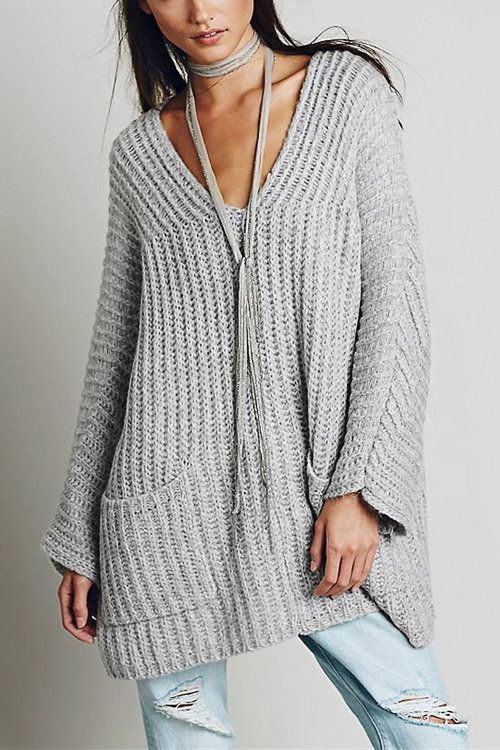 Oversize Light Grey Raglan Sleeve Pocket Front Plunge Sweater ...