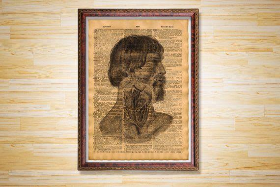 Man's head anatomy poster Vintage decor by CrowDictionaryPrints