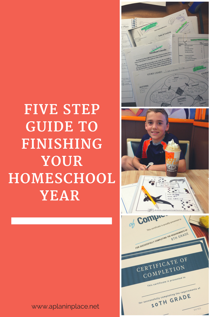 5 step guide to finishing your homeschool year Using a homeschool planner can keep you organized and on track all year. At the end of the year it will help you finish strong. See a 5 step process to help streamline your recordkeeping and create a keepsake for that year all in one place. See why having a planner in the hands of your student keeps it simple.