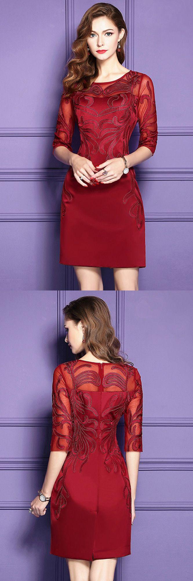 Only 76.99, Wedding Guest Dresses Burgundy Half Sleeve