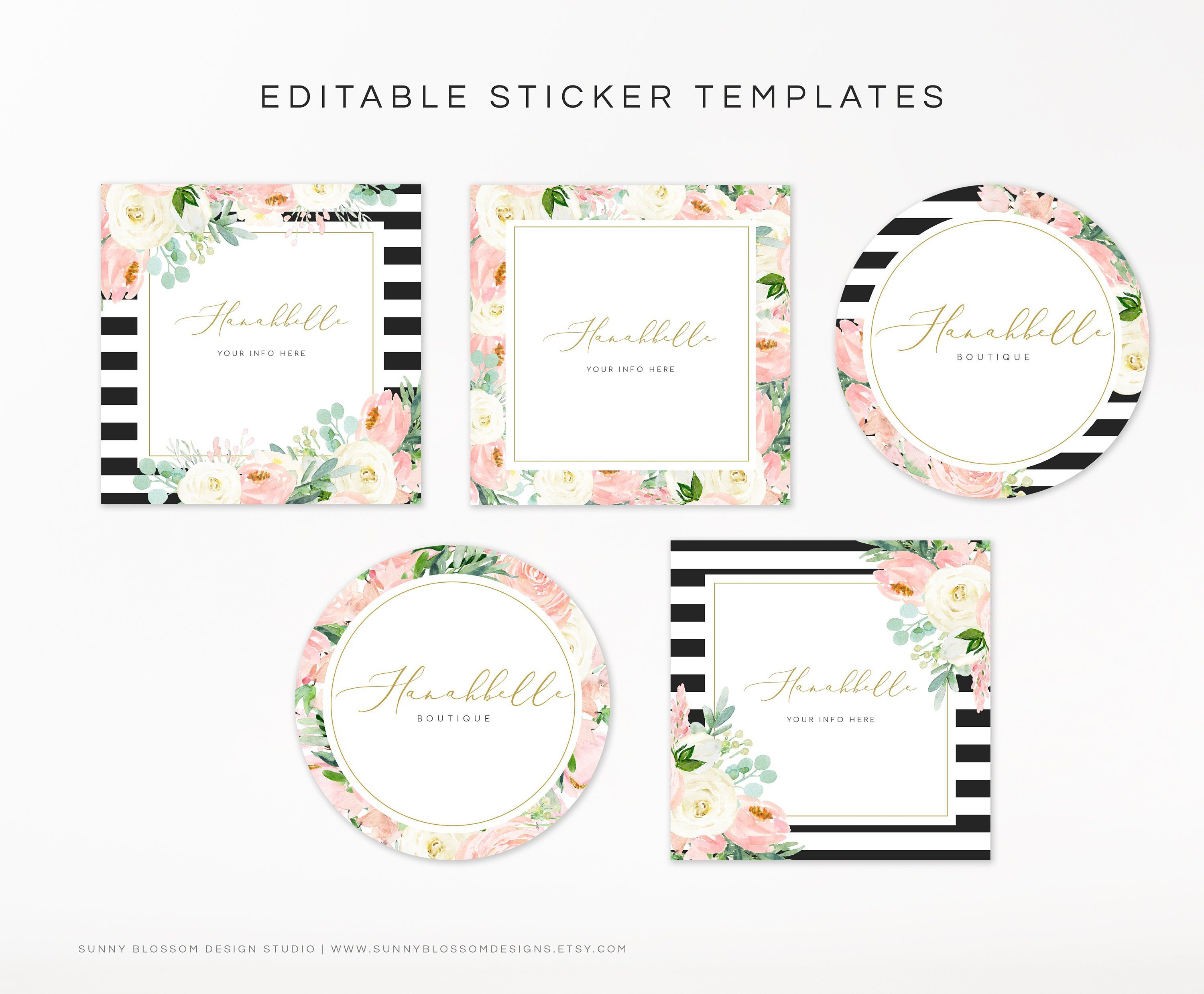Editable Sticker Template Boutique Stickers Watercolor Flowers Stickers Cute Boutique Stickers Labels Editable Sticker Templates In 2021 Sticker Template Free Printable Tags Templates Free Printable Tags