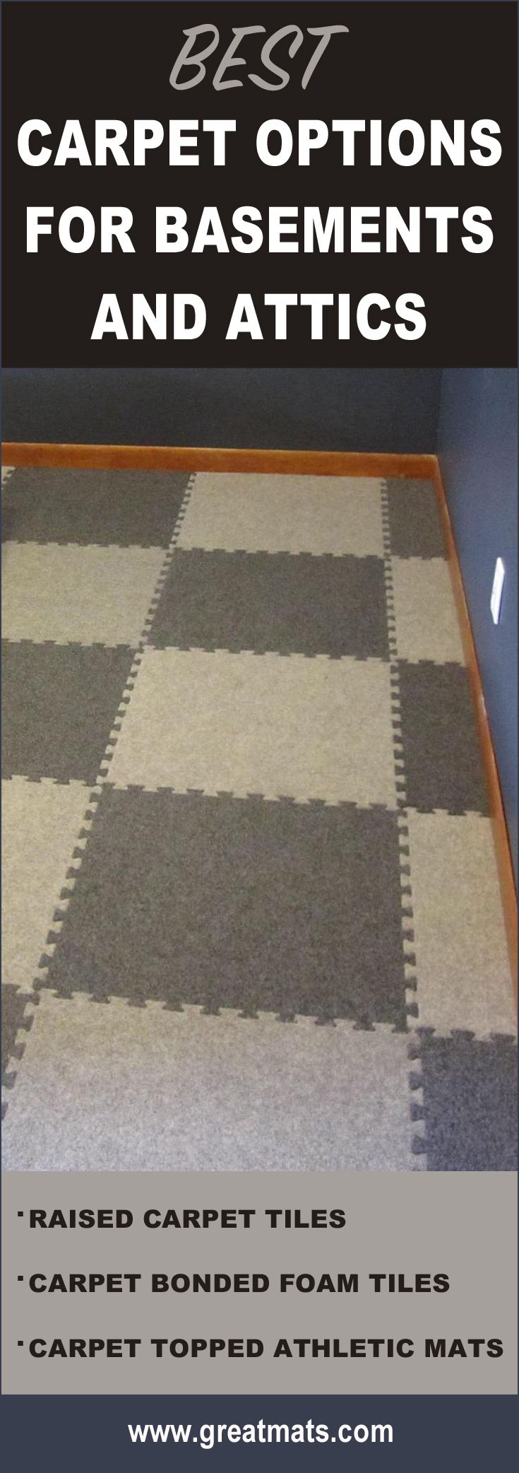 See the best carpet tiles for attics and basements easy to
