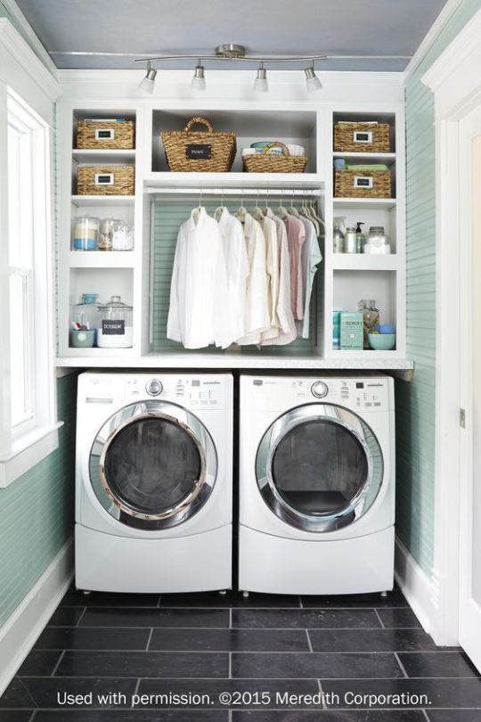 valuable inspiration laundry organization. With extra storage space  hidden appliances and pops of color these laundry rooms will inspire your next home renovation Organized Laundry Room with Storage Shelves Home Decor Accessories