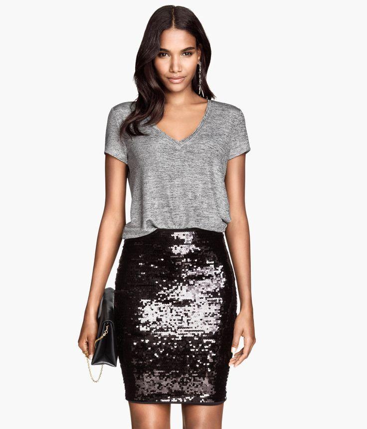 sophyline co 1300 black paillette sequin pencil skirt